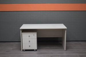 Письменный стол прямой c тумбой дуб бел