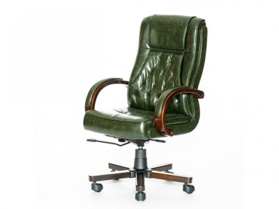 Новое кресло для руководителя, зелёная экокожа