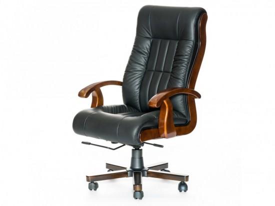 Кресло руководителя новое, чёрная кожа