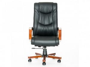 Кресло руководителя кожаное, черное