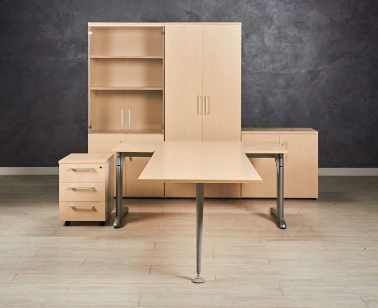 Комплект офисной мебели, цвет клён/белый