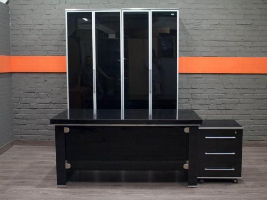 Комплект мебели для менеджера, черный лак