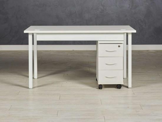 Стол  офисный прямой с подкатной тумбой, цвет белый