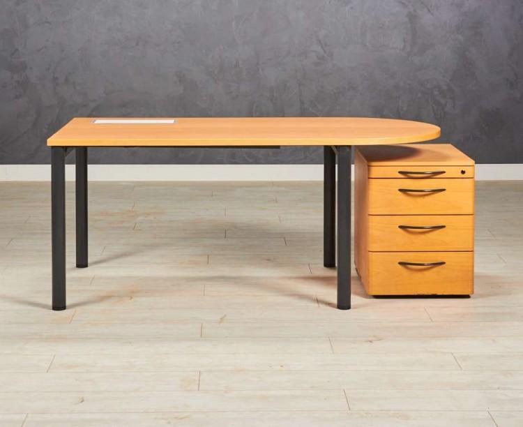 Стол прямой Steelcase с тумбой, цвет бук
