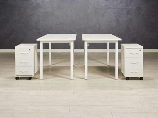 Комплект офисной  мебели для двух сотрудников, цвет белый