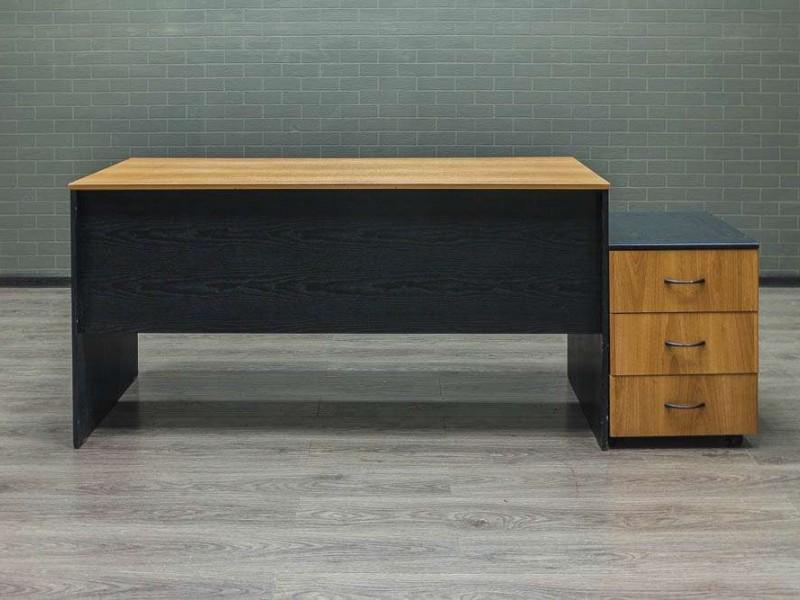 Стол офисный прямой с тумбой орех/чёрный