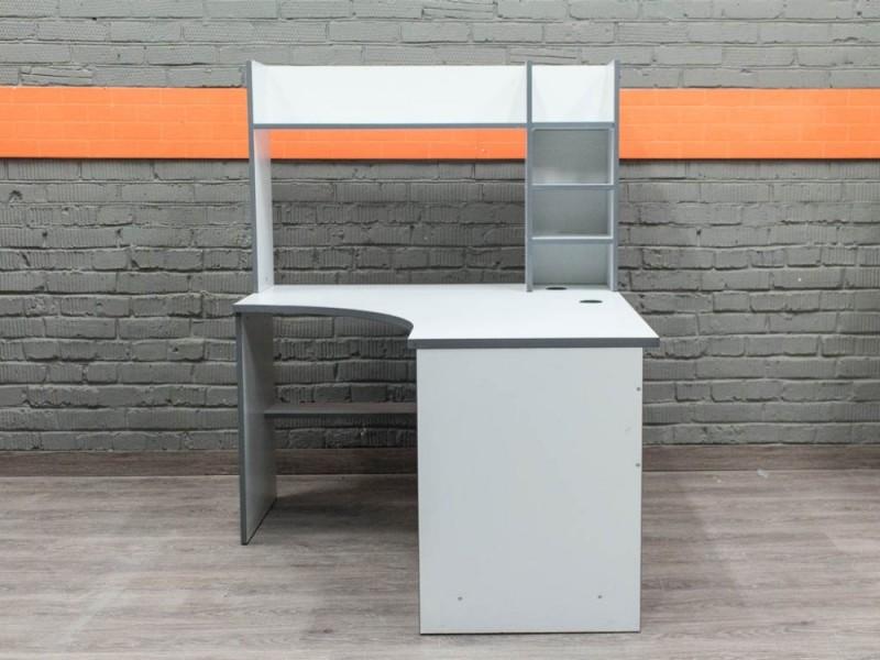 Компьютерный стол с надстройкой, серый