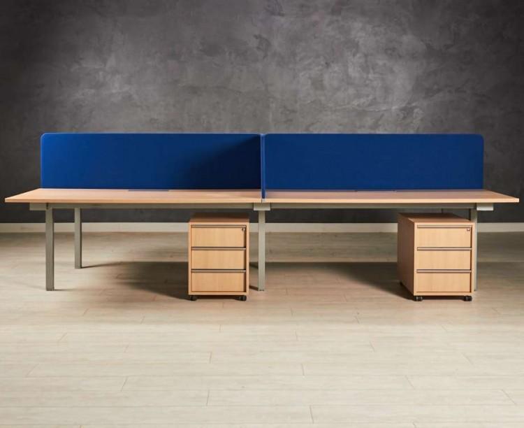 Бенч-система, стол для четверых сотрудников, цвет дуб