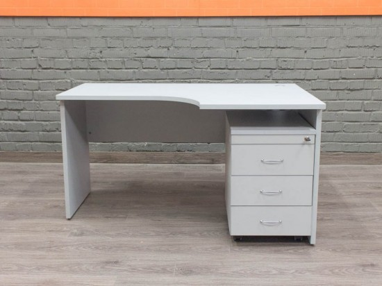 Компьютерный стол с тумбой, серый