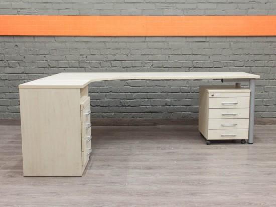 Угловой офисный стол с тумбами, бук