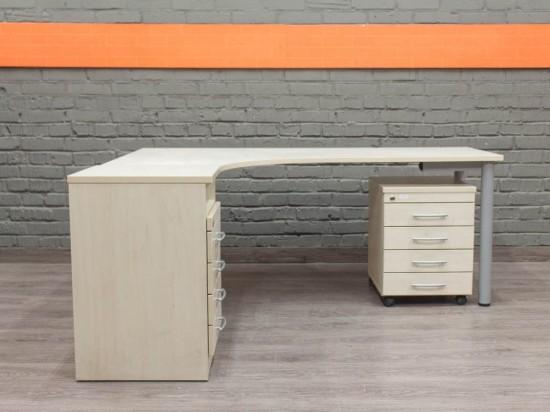 Угловой офисный стол с тумбами, клен