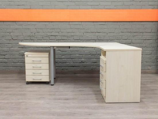 Эргономичный стол с двумя тумбами, клен