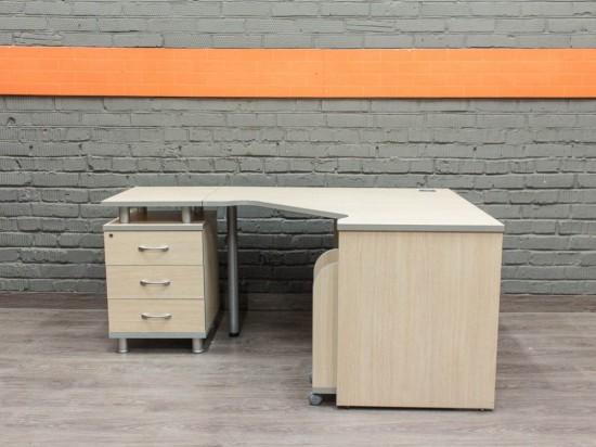 Стол компьютерный с тумбами, дуб и серый