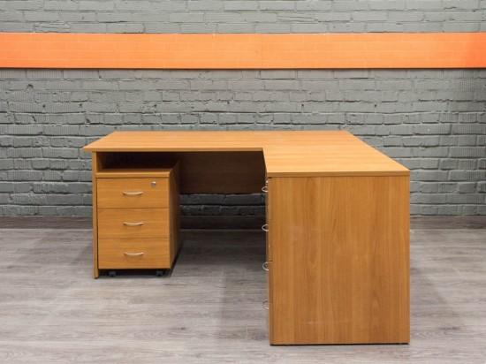 Компьютерный стол угловой с тумбами, ольха