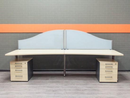 Офисная мебель бу. Бенч-система для двух сотрудников, клен