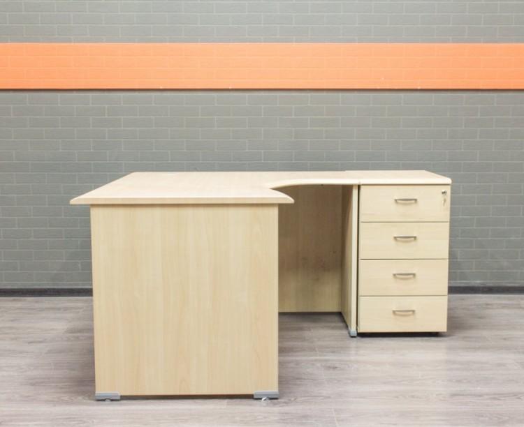 Стол офисный с тумбой, угловой, клен, МДФ