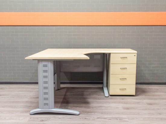 Компьютерный стол с тумбой, клен, МДФ и металл