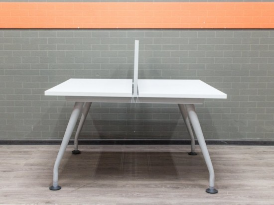 Стол офисный, бенч-система белая, 120х124