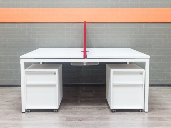 Бенч-система, офисный стол для 2 сотр, Narbutas белый