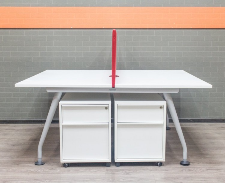 Стол офисный, бенч система для 2 сотрудников, белая