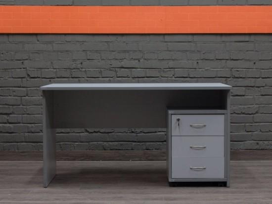 Письменный стол с тумбой, серый