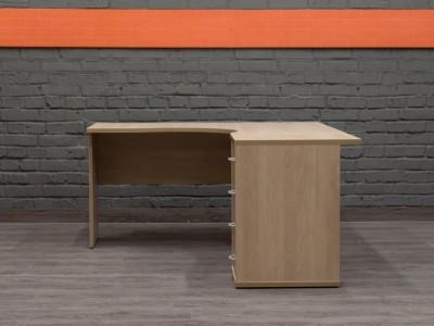 Угловой письменный стол с тумбой, бук