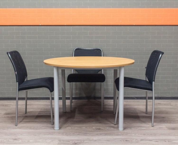 Стол для переговоров круглый со стульями, ольха и черный