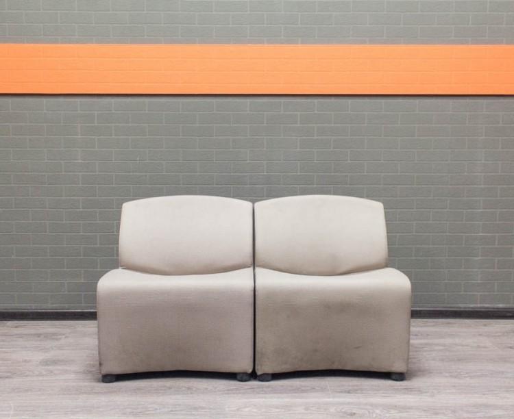 Диван офисный Итальянский секционный, серый Офисная мебель бу.