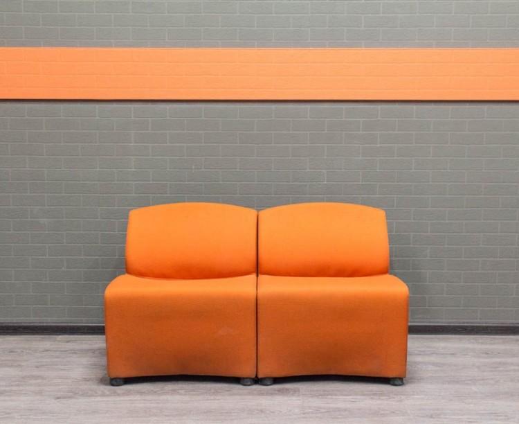 Диван офисный секционный, оранжевый