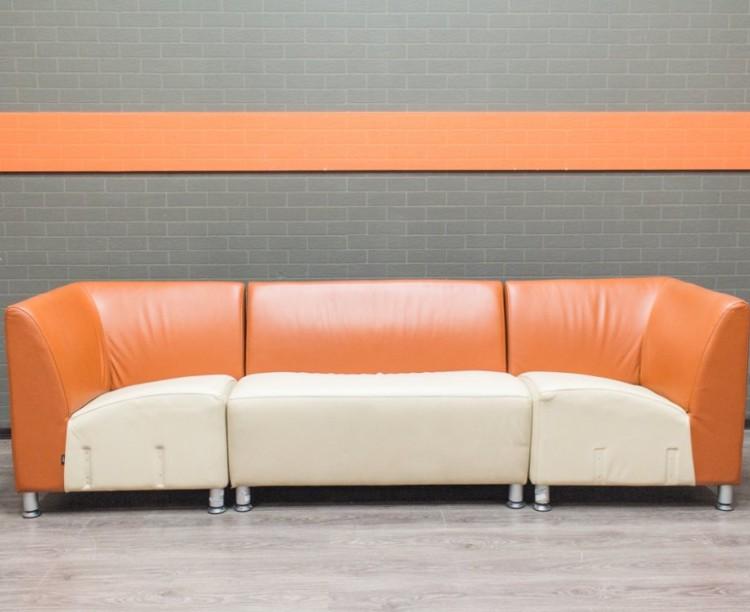 Диван секционный оранжевый, натуральная кожа