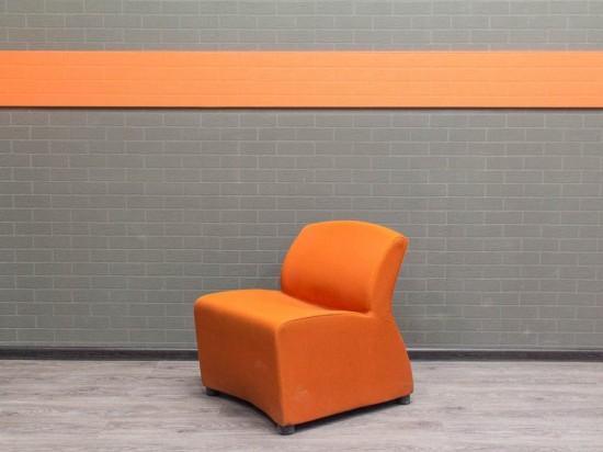 Кресло тканевое гостевое, Офисная мебель бу. оранжевое
