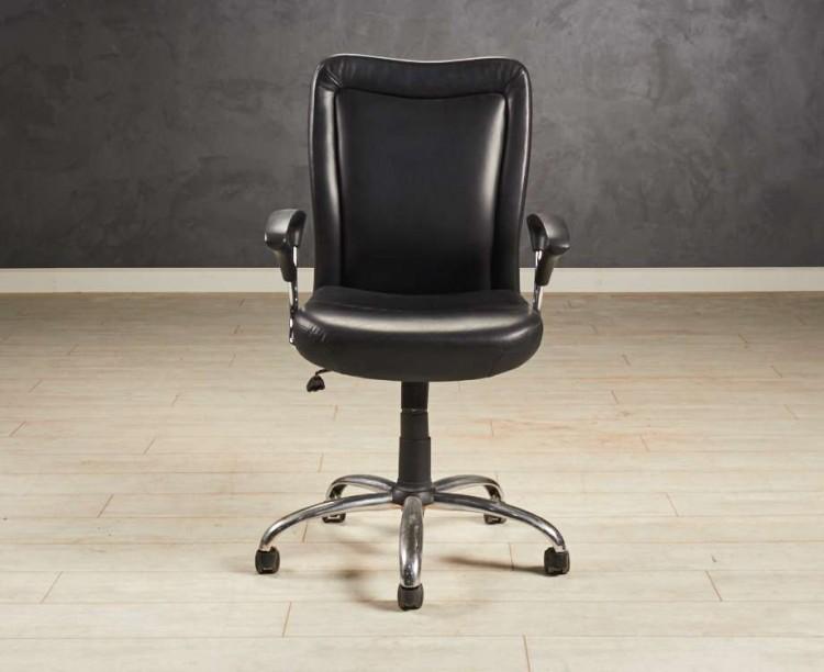 Кресло офисное чёрная кожа