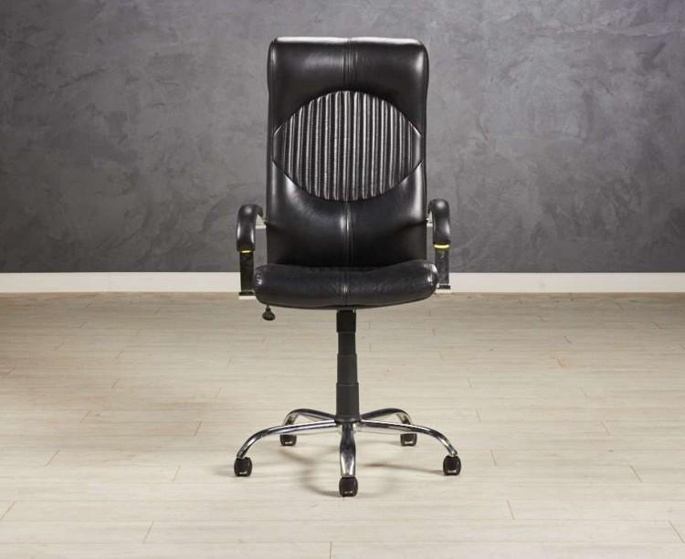 Кресло руководителя обивка экокожа, цвет черный
