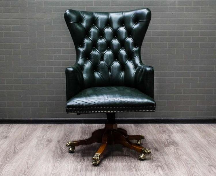 Кресло руководителя Lux зелёное натуральная кожа