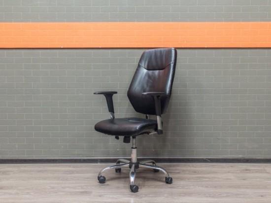 Кресло руководителя Дэфо, черная экокожа