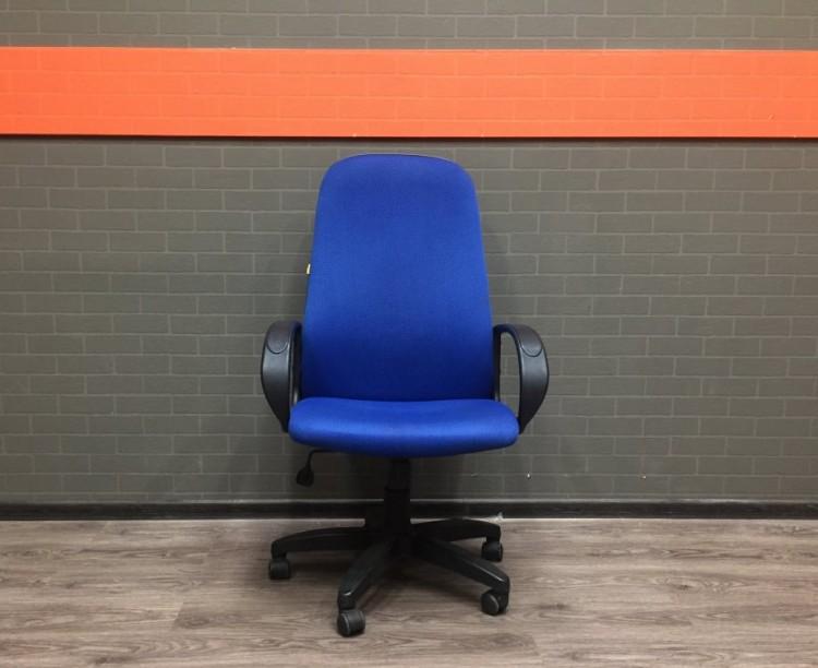 Кресло руководителя, ткань, синее