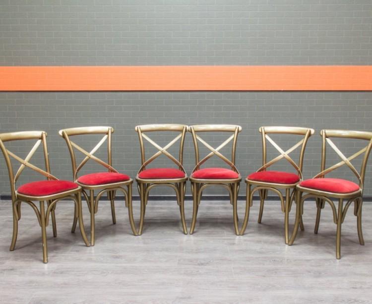 Стулья гостевые с красной обивкой сиденья