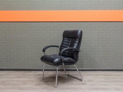 Кресло для переговоров, экокожа, хром