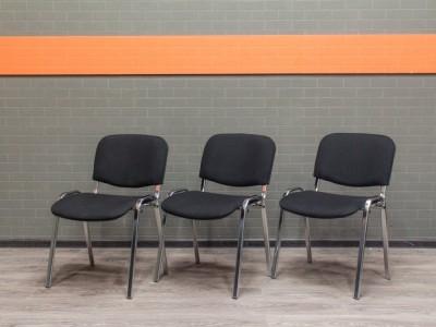 Стул офисный новый ISO, хром, черная ткань