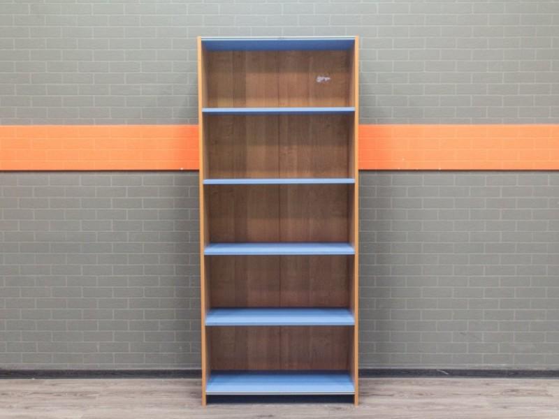 Стеллаж офисный открытый, 4 полочки, ольха и голубой