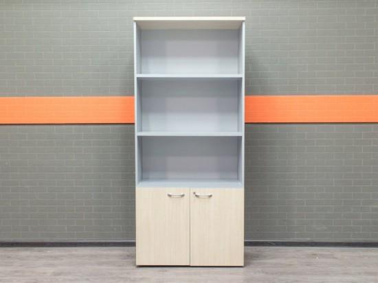 Стеллаж офисный, шкаф для документов, дуб и серый