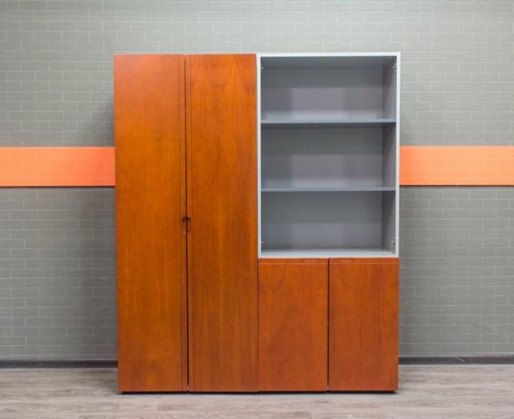 Комплект шкафов в офис, МДФ и шпон, красный орех