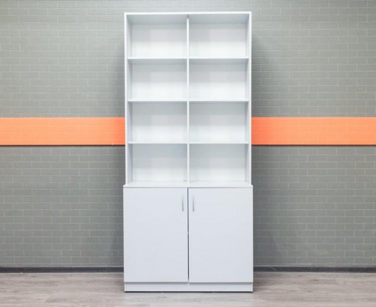 Стеллаж офисный полуоткрытый, шкаф серый