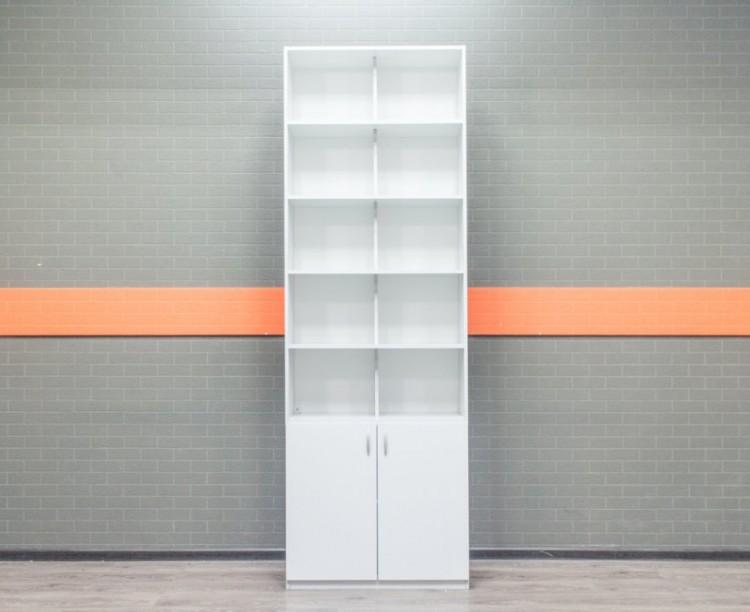 Стеллаж офисный полуоткрытый серый, лдсп