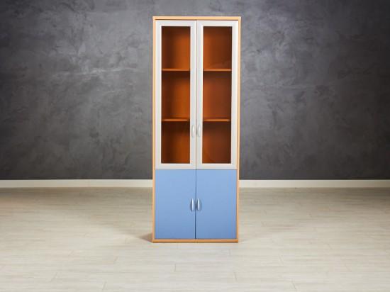 Шкаф для документов со стеклом цвет бук/синий