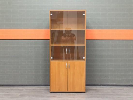 Офисная мебель бу Шкаф со стеклом вишня