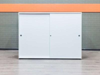 Шкаф для документов низкий, белый купэ