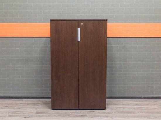 Шкаф офисный низкий, шпон дуба темный