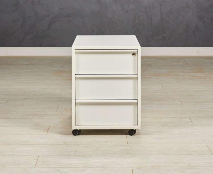Тумба офисная подкатная с 3 ящиками, цвет белый