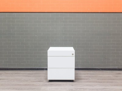 Тумба офисная белая, 3 ящика, металл и ЛДСП